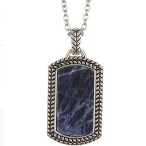 Antiqued Dog Tag Pendant Necklace - Silver